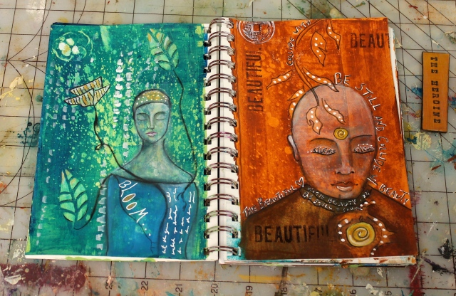 this week's art journal pages...all about bloomin' and bein'